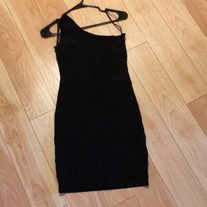 Black one shoulder Bebe dress